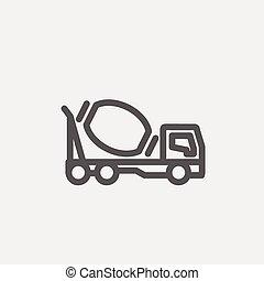 ミキサー, コンクリート, トラック, 薄いライン, アイコン