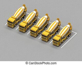 ミキサー, 駐車, コンクリート, トラック