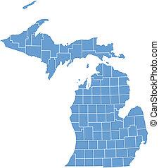 ミシガン州の地図, ベクトル