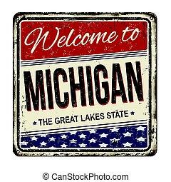 ミシガン州, 印, 錆ついた, 歓迎, 型, 金属