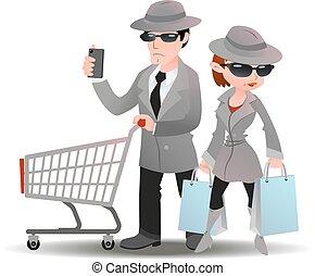 ミステリー, スパイ, 女性買い物, 買い物客, 電話, コート, カート, 袋, 人