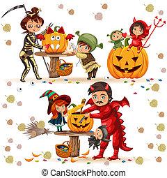 ミステリー, shrek., セット, カラフルである, 家族, 服を着せられる, concept., 母, ハロウィーン, 衣装, ベクトル, 父, 死, 恐怖, ドラゴン, パーティー, 魔女, 悪魔, 子供, illustration.