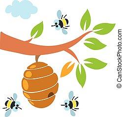 ミツバチの巣箱, 蜂, 蜂蜜, イラスト, 蜂, 面白い, セット