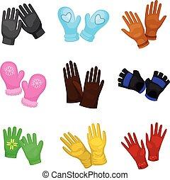 ミトン, gloves., イラスト, バックグラウンド。, セット, 流行, ベクトル, 白