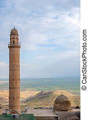 ミナレット, の, ∥, 大きい mosque, 知られている, また, ∥ように∥, ulu, cami, ∥で∥, mesopotamian, 平野, 中に, ∥, 背景, mardin, turkey.