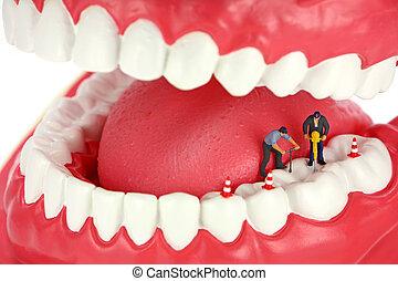 ミニチュア, 労働者, ボーリングする, a, 虫歯, 中に, a, 歯