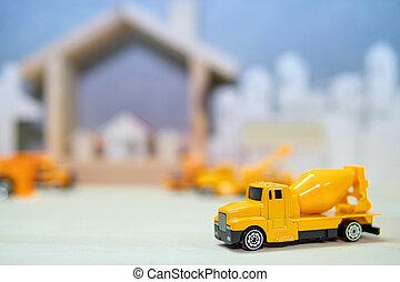 ミニチュア, 黄色, コンクリート, トラック, ミキサー, モデル