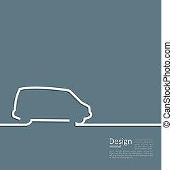 ミニバス, 清浄, laconic, 自動車, デザイン, 線