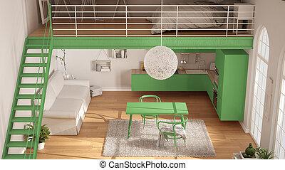ミニマリスト, アパート, 暮らし, 屋根裏, クラシック, 台所, スカンジナビア人, 光景, デザイン, 内部, 緑, one-room, 上, 寝室