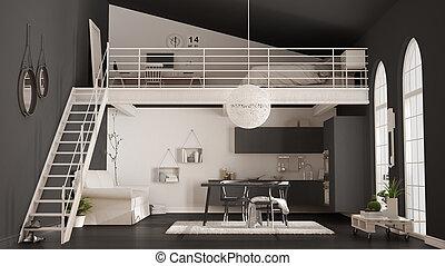 ミニマリスト, アパート, 灰色, 屋根裏, クラシック, 台所, スカンジナビア人, 暮らし, デザイン, 内部, 寝室, one-room