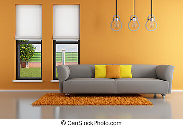 ミニマリスト, オレンジ, 部屋, 暮らし
