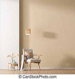 ミニマリスト, スタイル, armchair., illustration., 壁, の上, スカンジナビア人, 木製である, mock, 内部, design., 空, 3d