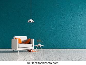 ミニマリスト, スタイル, armchair., illustration., 現代, スカンジナビア人, 内部, design., 3d, 部屋