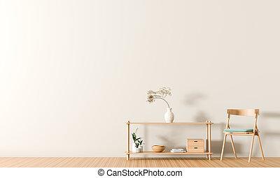 ミニマリスト, スタイル, illustration., 壁, スカンジナビア人, 木製である, furnitures., 内部, design., 空, 3d