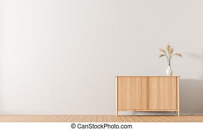 ミニマリスト, スタイル, illustration., 壁, drawer., スカンジナビア人, 木製である, 内部, design., 空, 3d