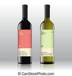 ミニマリスト, セット, 優れた, ラベル, 現代, bottles., typography., 現実的, ベクトル, デザイン, 赤, きれいにしなさい, 流行, 白, 品質, 最小である, ワイン