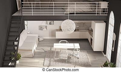 ミニマリスト, デザイン, アパート, クラシック, 屋根裏, 台所, スカンジナビア人, 光景, 寝室, 内部, 暮らし, 白, one-room, 上