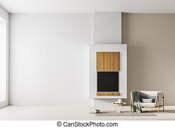 ミニマリスト, illustration., 壁, の上, スカンジナビア人, mock, 内部, design., fireplace., 空, 3d