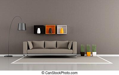 ミニマリスト, livingroom, ブラウン