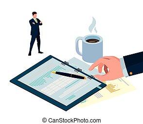 ミニ, オフィス, ビジネス アイコン, 人々, 封筒, マニラ