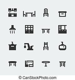 ミニ, セット, アイコン, ベクトル, 台所, 家具