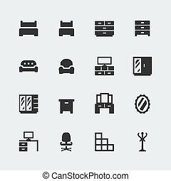 ミニ, セット, アイコン, ベクトル, 家, #1, 家具