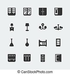 ミニ, セット, アイコン, ベクトル, 家, #2, 家具