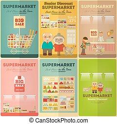ミニ, セット, スーパーマーケット, ポスター