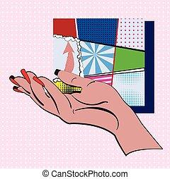 ミニ, セット, 芸術, フレーム, ポンとはじけなさい, デザイン, style., 葉書, ピンク, フライヤ, 白, ポスター, 点, カラフルである, イラスト, 手, 背景, タイプ, 漫画, 作られた, 背景, ベクトル, 旗