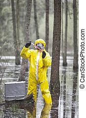 ミニ, テスト, 専門家, カバーオール, 保護である, 汚染された, 環境, 実験室
