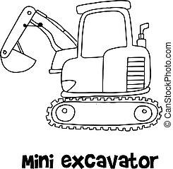 ミニ, ドロー, ベクトル, 掘削機, 手