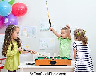 ミニ, ビリヤード, 遊戯場, 遊び, 子供