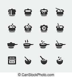 ミニ, ベクトル, セット, 料理, アイコン