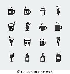 ミニ, ベクトル, セット, 飲料, アイコン