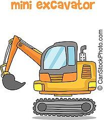 ミニ, ベクトル, 交通機関, 掘削機