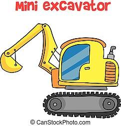 ミニ, ベクトル, 黄色, 掘削機, 漫画