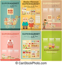 ミニ, ポスター, スーパーマーケット, セット