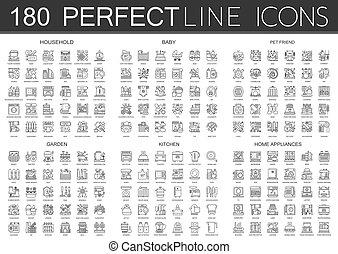 ミニ, 庭, 概念, アウトライン, アイコン, ペット, 台所, 世帯, シンボル, 180, 友人, 器具, 家, icon., 赤ん坊