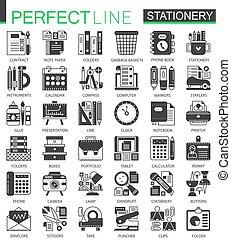 ミニ, 概念, オフィス, pictogram, set., 現代, symbols., ベクトル, 黒, 文房具, イラスト, 道具, アイコン