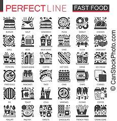 ミニ, 概念, クラシック, 食物, set., pictogram, 現代, 速い, symbols., ベクトル, 黒, イラスト, アイコン