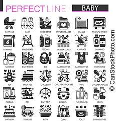 ミニ, 概念, クラシック, set., 現代, 赤ん坊, symbols., 黒, イラスト, アイコン