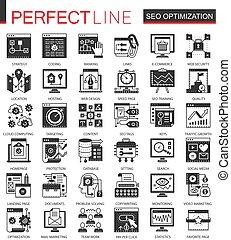 ミニ, 概念, セット, アイコン, optimization, シンボル, infographic, 黒, seo