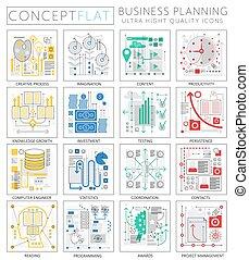 ミニ, 概念, 優れた, 金融, ビジネス アイコン, infographics, web., プロジェクト計画, デザイン, 網, グラフィックス, elements., 品質, concepts.