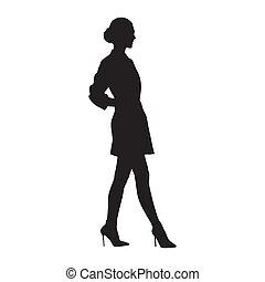 ミニ, 歩くこと, 靴, ビジネス, スカート, 人々, 女性実業家, 隔離された, silhouette., 高い かかと, ベクトル, 光景, モデル, 側
