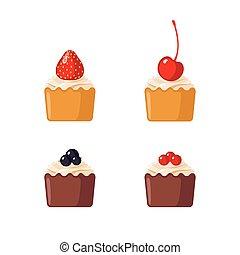 ミニ, 白, セット, cupcakes, 背景