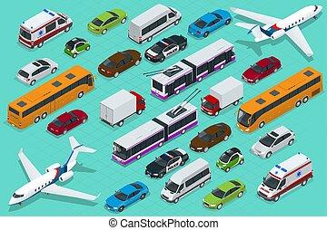 ミニ, 等大, オフロード, views., 都市, 飛行機, 貨物, vehihle., cars., 都市, 公衆, 自転車, ワゴン, セダン, 後部, 貨物, 前部, トラック, スポーツ, バン, 輸送