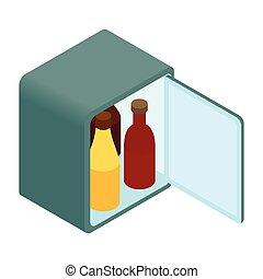 ミニ, 等大, 3d, 冷蔵庫, アイコン