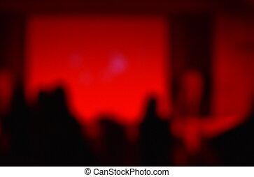 ミニ, cocert, ぼやけ, ミーティング, ホール, ステージ