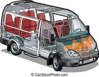 ミニ, ifographics, バス, cutaway