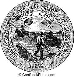 ミネソタ, engraving., シール, 州, 型